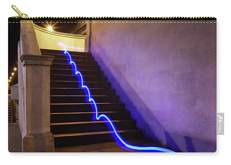 Steps Carry-all Pouch featuring the photograph Light Trail On Steps by Tim Robberts