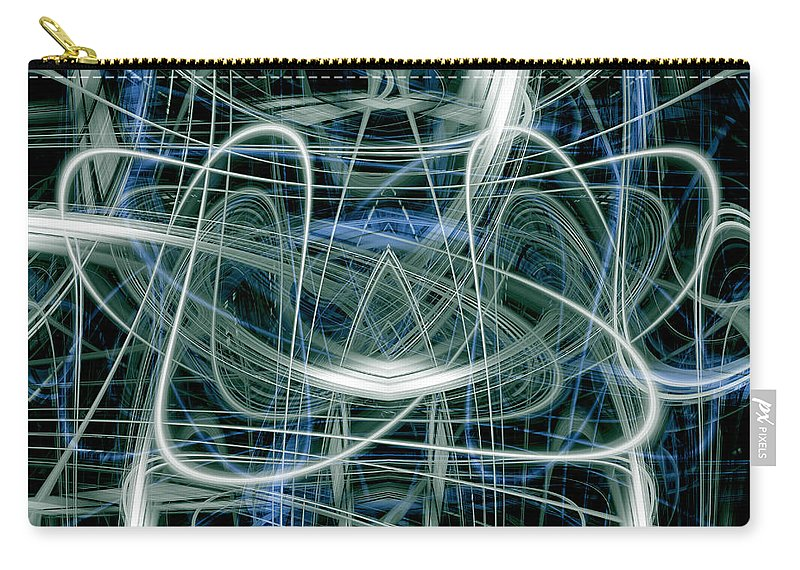 Abstract Carry-all Pouch featuring the digital art Light Trails 7 by Steve Ball