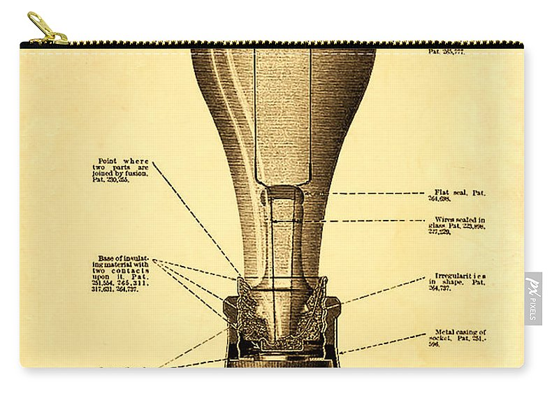 Lightbulb Patent Carry-all Pouch featuring the photograph Lightbulb Patent by Bill Cannon