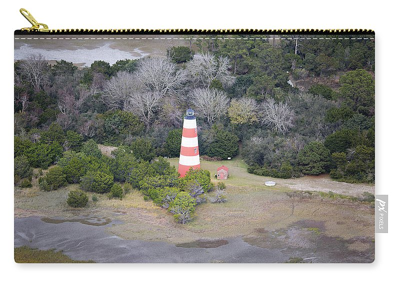 Jekyll Carry-all Pouch featuring the photograph Lighthouse Aerial Near Jekyll Island by Betsy Knapp