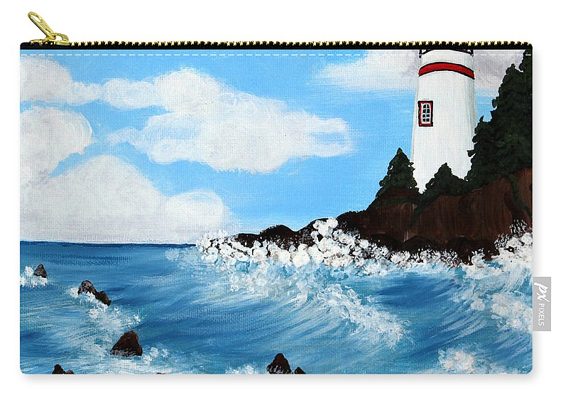 Barbara Griffin Carry-all Pouch featuring the painting Lighthouse And Sunkers by Barbara Griffin