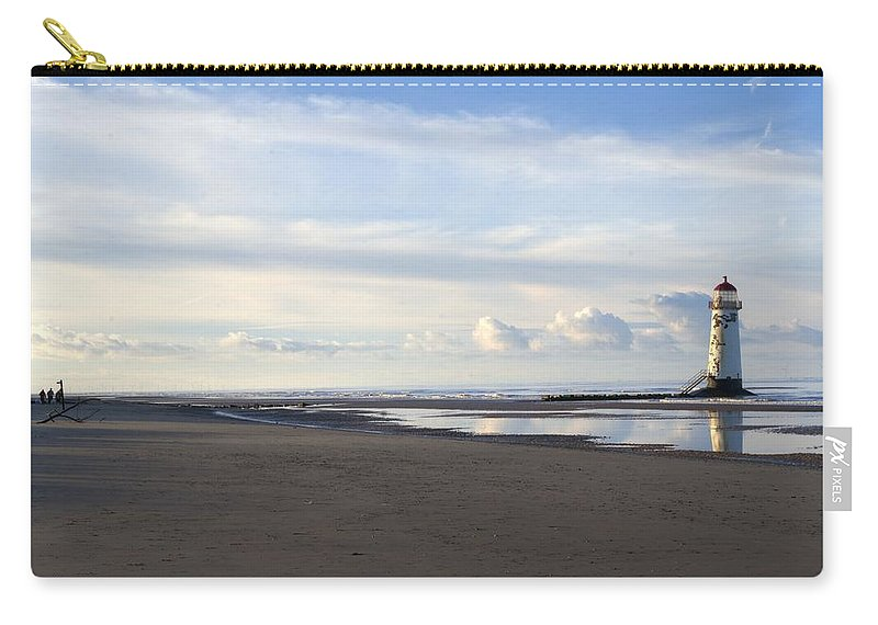 Silver Man Carry-all Pouch featuring the photograph Lighthouse At Talacre by Spikey Mouse Photography