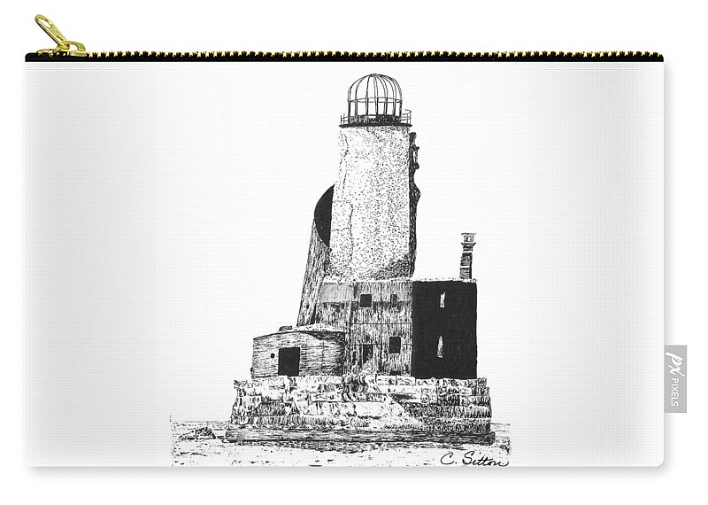 C Sitton Drawing Drawings Carry-all Pouch featuring the drawing Lighthouse by C Sitton