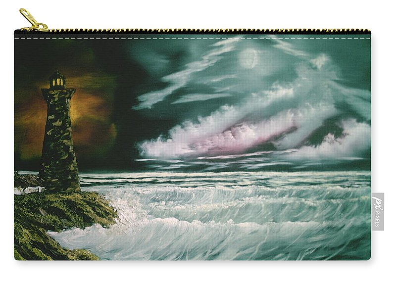 Ocean Carry-all Pouch featuring the painting Lighthouse Glow by Jim Saltis
