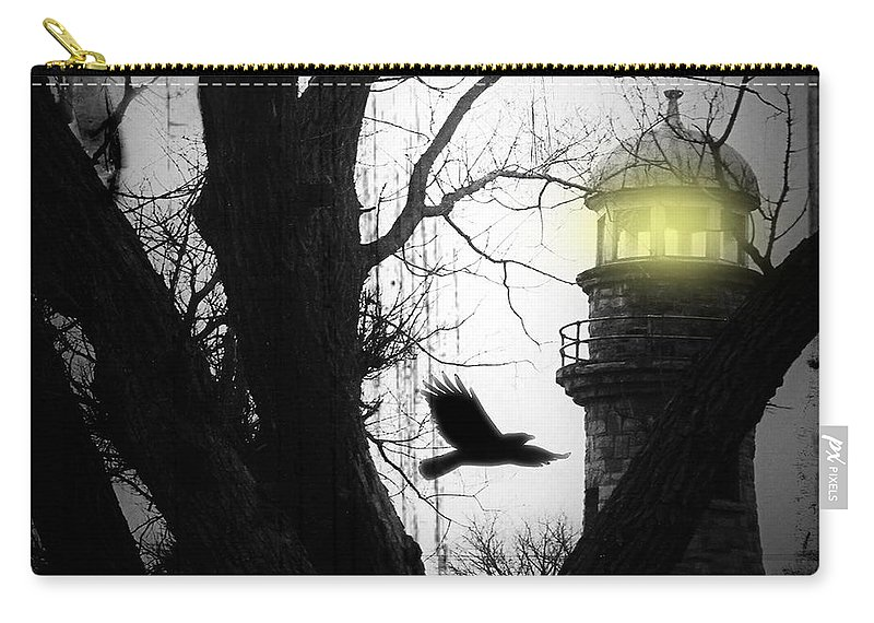 Lighthouse Carry-all Pouch featuring the photograph The Lighthouse Is Lit by Gothicrow Images