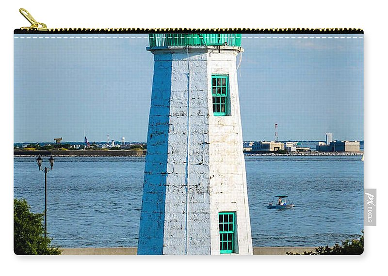 Hdr Carry-all Pouch featuring the photograph Lighthouse Hdr by Wesley Farnsworth
