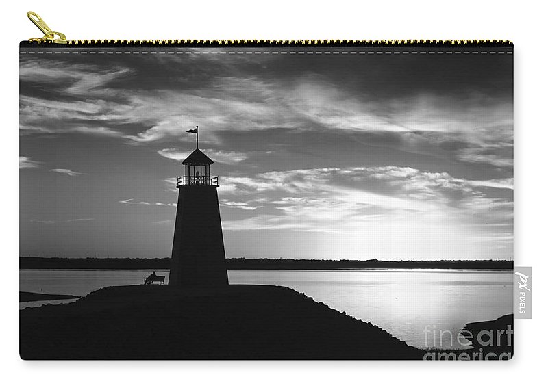 Lighthouse Carry-all Pouch featuring the photograph Lighthouse In Black And White by Betty LaRue