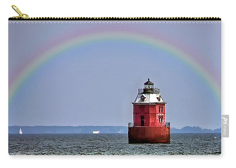 2d Carry-all Pouch featuring the photograph Lighthouse On The Bay by Brian Wallace