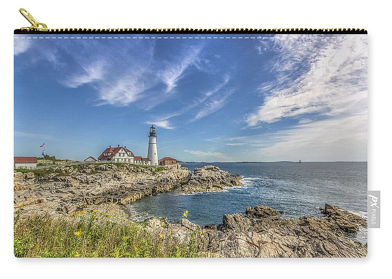 Maine Carry-all Pouch featuring the photograph Lighthouse Point by Jane Luxton