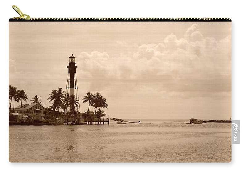 Sepia Carry-all Pouch featuring the photograph Lighthouse Point by Rob Hans