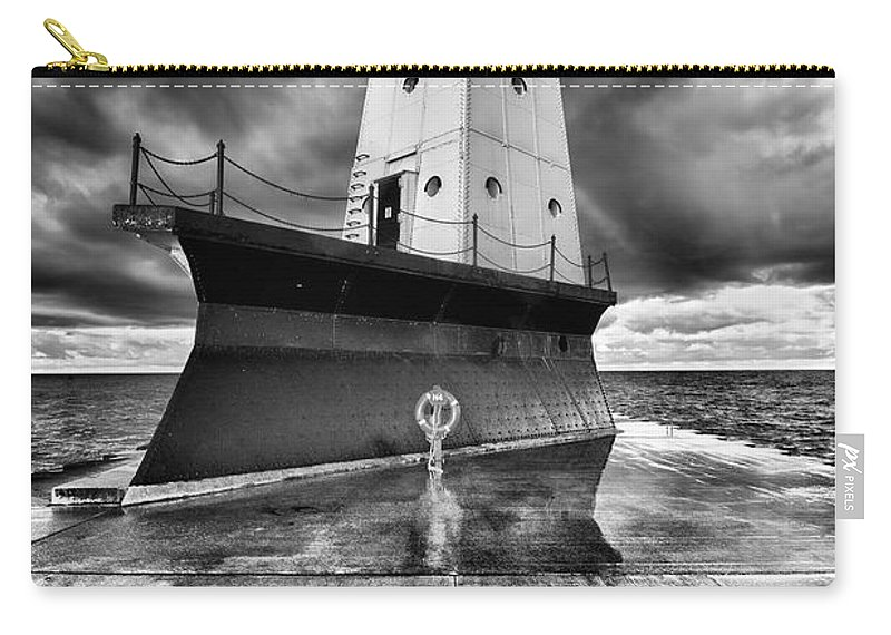 Clouds Carry-all Pouch featuring the photograph Lighthouse Reflection Black And White by Sebastian Musial