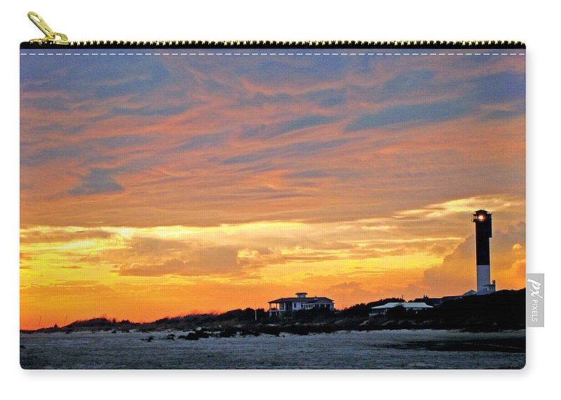 Lighthouse Sunset Carry-all Pouch featuring the photograph Lighthouse Sunset By Jan Marvin by Jan Marvin
