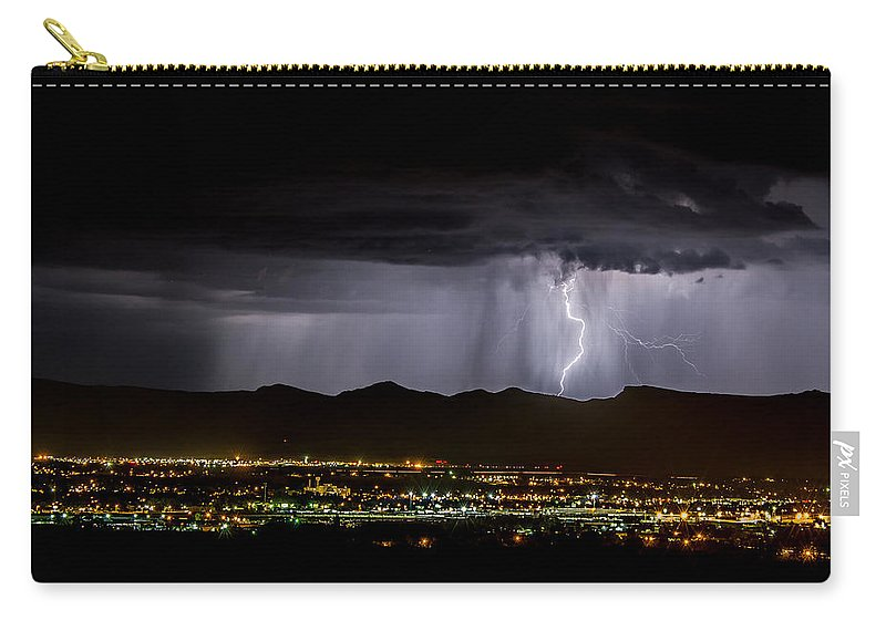 Bolts Carry-all Pouch featuring the photograph Lightning 1 by Jeff Stoddart