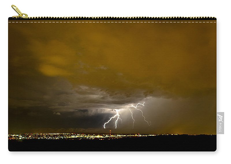 Bolts Carry-all Pouch featuring the photograph Lightning 14 by Jeff Stoddart