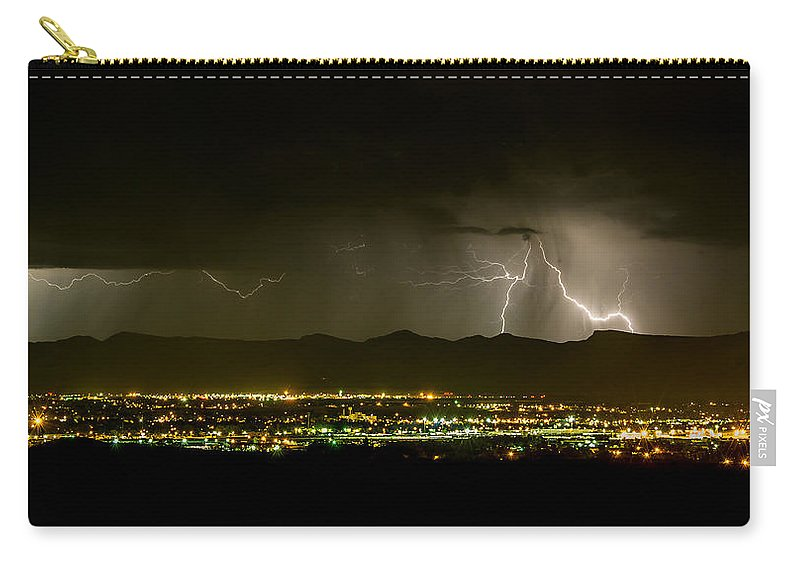 Bolts Carry-all Pouch featuring the photograph Lightning 2 by Jeff Stoddart