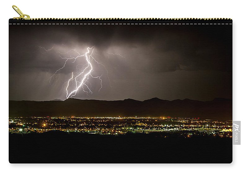 Bolts Carry-all Pouch featuring the photograph Lightning 4 by Jeff Stoddart