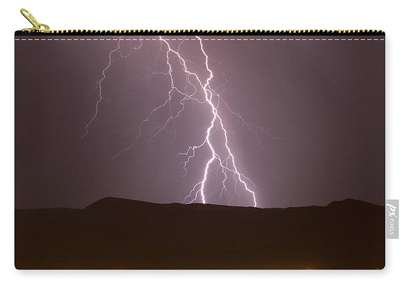 Bolts Carry-all Pouch featuring the photograph Lightning 5 by Jeff Stoddart