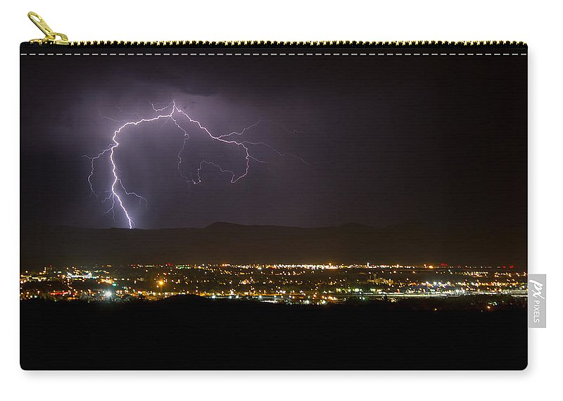 Bolts Carry-all Pouch featuring the photograph Lightning 6 by Jeff Stoddart