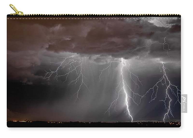 Bolts Carry-all Pouch featuring the photograph Lightning 8 by Jeff Stoddart