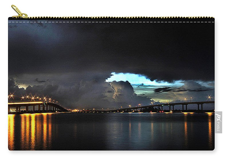 Lightning Photographs Carry-all Pouch featuring the photograph Lightning And The Cerulean Sky by Doug Heslep