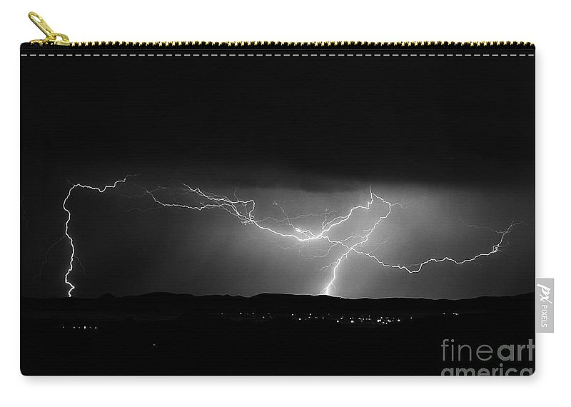 Lightning Photography Carry-all Pouch featuring the photograph Lightning Stirke by K D Graves