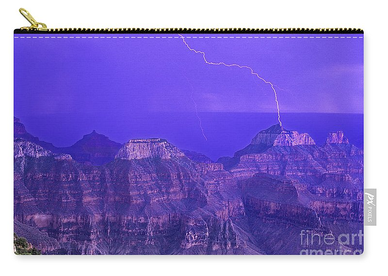 North America Carry-all Pouch featuring the photograph Lightning Storm North Rim Grand Canyon National Park Arizona by Dave Welling