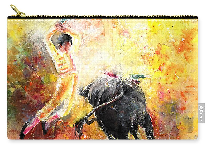 Animals Carry-all Pouch featuring the painting Lightning Strikes by Miki De Goodaboom