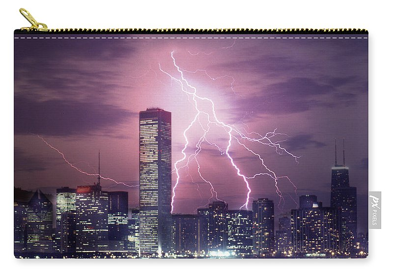 Scenics Carry-all Pouch featuring the photograph Lightning Striking Chicago Skyline by Lyle Leduc