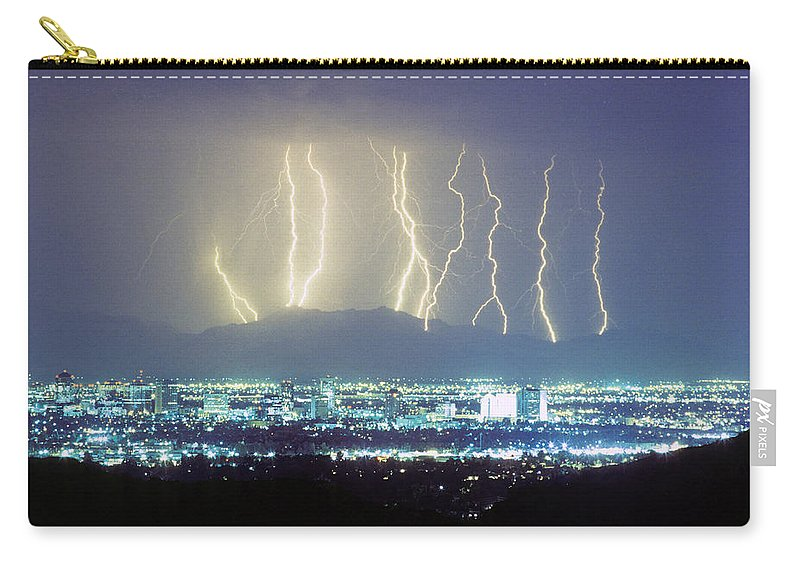 Lightning Carry-all Pouch featuring the photograph Lightning Striking Over Phoenix Arizona by James BO Insogna