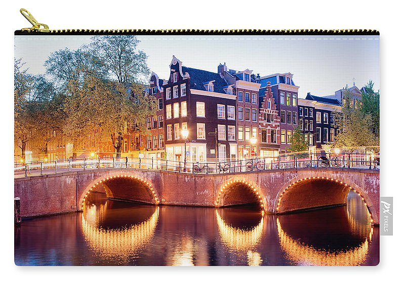 Amsterdam Carry-all Pouch featuring the photograph Lights Of Amsterdam by Artur Bogacki