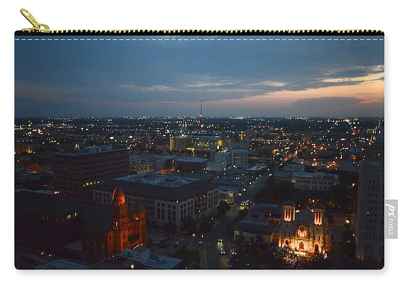Architecture Carry-all Pouch featuring the photograph Lights Of San Antonio Tx by Shawn Marlow