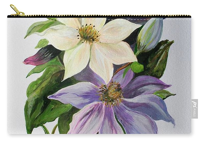 Clematis Carry-all Pouch featuring the painting Lilac Clematis by Taiche Acrylic Art