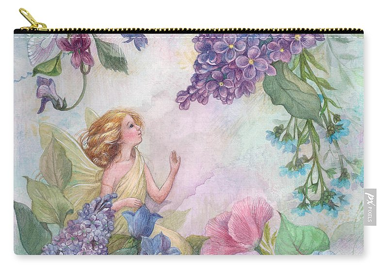 Enchanting Carry-all Pouch featuring the painting Lilac Enchanting Flower Fairy by Judith Cheng