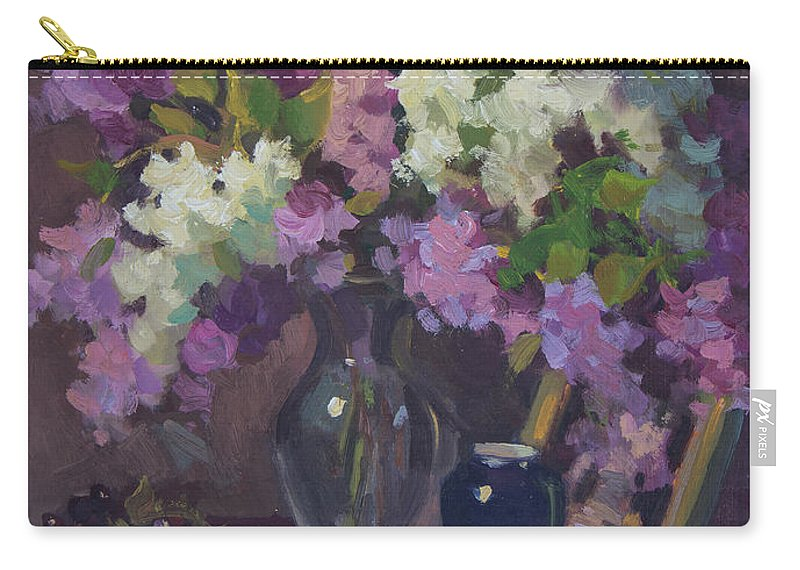 Lilacs Carry-all Pouch featuring the painting Lilacs And Blue Vase by Diane McClary
