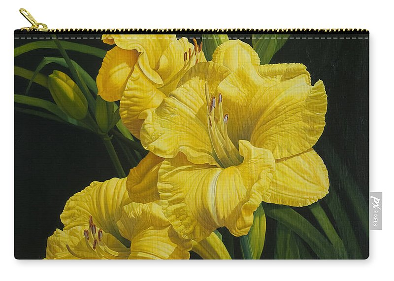 Floral Carry-all Pouch featuring the painting Lilies for Olivia Rose by Gary Hernandez