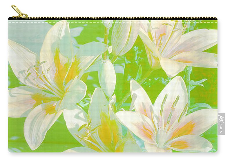 White Lilies Carry-all Pouch featuring the digital art Lilies Greeting Card by Sandra Foster