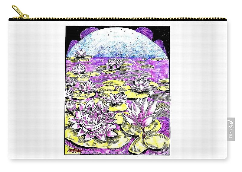 Lilies Of The Lake Carry-all Pouch featuring the drawing Lilies Of The Lake by Seth Weaver