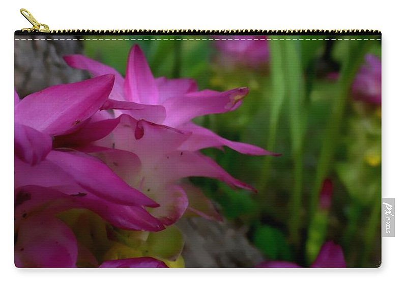 Lilies Carry-all Pouch featuring the photograph Lilly Around The Tree by Debra Forand