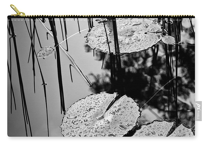 Background Carry-all Pouch featuring the photograph Lilly Pad Pond Black And White by Tim Hester