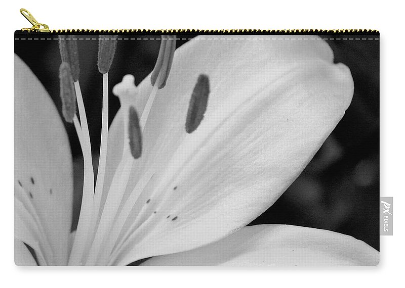 Lily Bw Carry-all Pouch featuring the photograph Lily Bw by Maria Urso