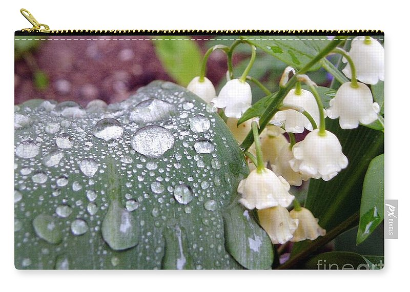 Lily Of The Valley Carry-all Pouch featuring the photograph Lily Of The Valley After The Rain by Renee Croushore