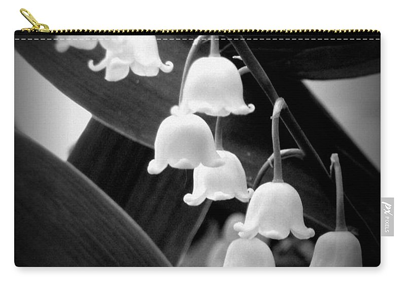 Lily Of The Valley Carry-all Pouch featuring the photograph Lily Of The Valley Black And White by Renee Croushore