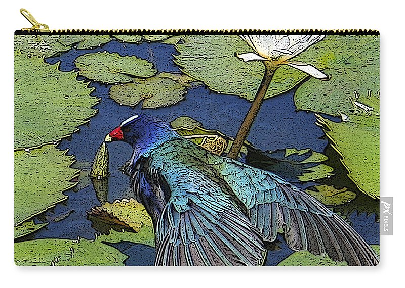 #lily #exoticbird #puntacana #dominicanrepublic #nature Carry-all Pouch featuring the digital art Lily Pad With Bird by Jacquelinemari