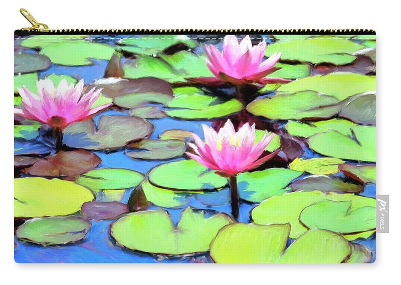 Lily Pond Carry-all Pouch featuring the painting Lily Pond by Dominic Piperata