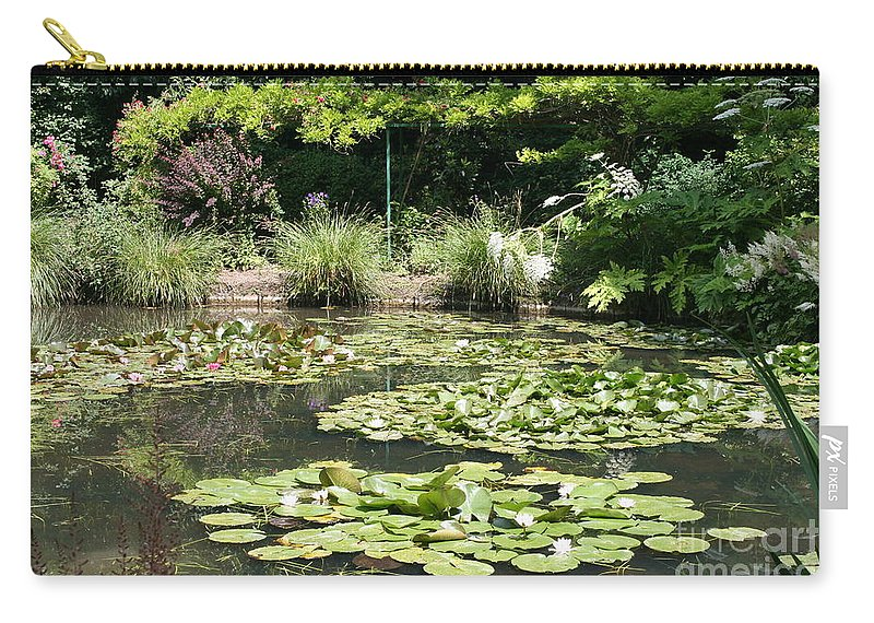 Lilies Carry-all Pouch featuring the photograph Lily Pond View Monets Garden by Christiane Schulze Art And Photography