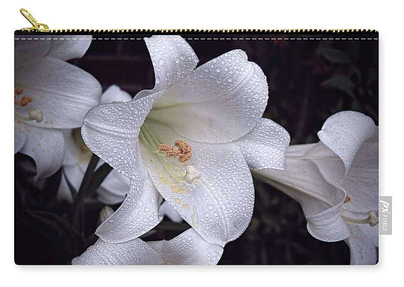 Lily Carry-all Pouch featuring the photograph Lily With Rain Droplets by Bonnie Willis