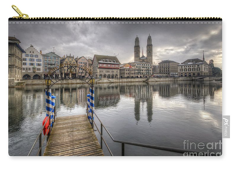 Yhun Suarez Carry-all Pouch featuring the photograph Limmat River Reflections by Yhun Suarez