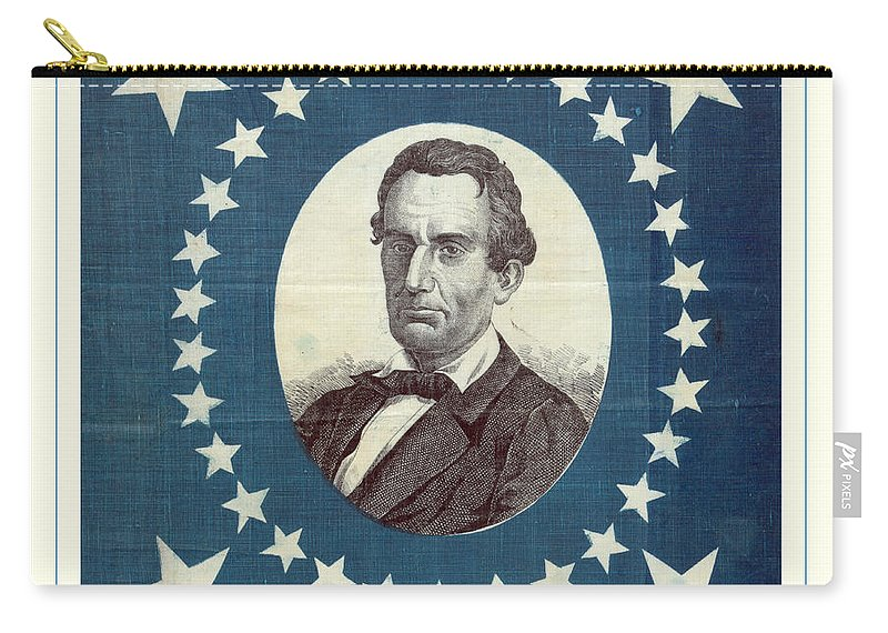 Lincoln Carry-all Pouch featuring the photograph Lincoln 1860 Presidential Campaign Banner - Bust Portrait by John Stephens