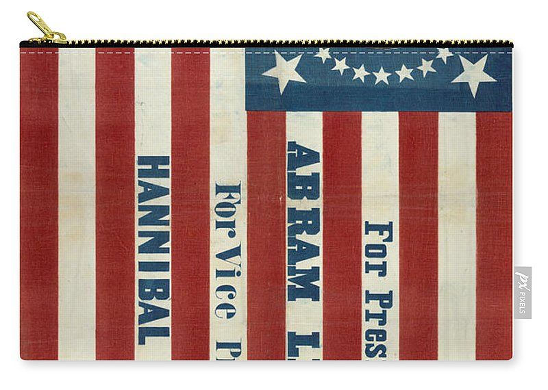 Lincoln Carry-all Pouch featuring the photograph Lincoln 1860 Presidential Campaign Banner by John Stephens