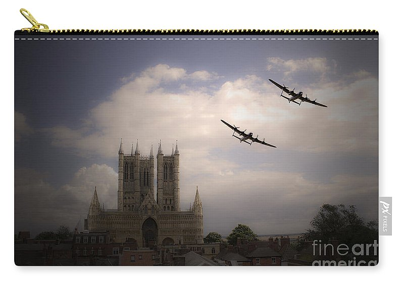 Lancasters Over Lincoln Cathedral Carry-all Pouch featuring the digital art Lincoln Lancs by J Biggadike